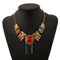 Zinklegierung Franse Halskette, mit Kristall, mit Verlängerungskettchen von 5cm, goldfarben plattiert, für Frau, farbenfroh, frei von Nickel, Blei & Kadmium, verkauft per 17.7 ZollInch Strang