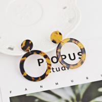 Acryl Schmuck Ohrring, Edelstahl Stecker, Kreisring, für Frau & Leopard Muster, keine, 38x53x15mm, verkauft von Paar