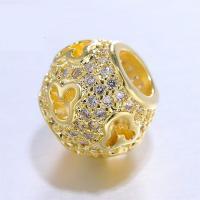 Strass Messing Perlen, goldfarben plattiert, mit Strass, frei von Nickel, Blei & Kadmium, 8.1*9.8mm, Bohrung:ca. 4.3mm, 3PCs/Menge, verkauft von Menge