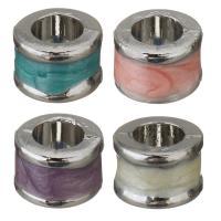 Messing European Perlen, Emaille, keine, frei von Nickel, Blei & Kadmium, 8x6x8mm, Bohrung:ca. 4.5mm, 50PCs/Menge, verkauft von Menge