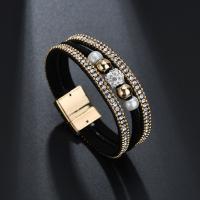 PU Schnur Armbänder, PU Leder, mit Kunststoff Perlen & Zinklegierung, für Frau & mit Strass, keine, 16x195mm, verkauft von Strang