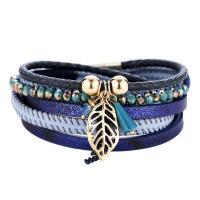 PU Schnur Armbänder, PU Leder, mit Glasperlen & Strass & Zinklegierung, für Frau, keine, frei von Nickel, Blei & Kadmium, 35x395mm, verkauft von Strang