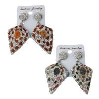 Ton Tropfen Ohrring, mit Gummi Earnut & Edelstein, für Frau, keine, frei von Nickel, Blei & Kadmium, 33x48mm,61mm, verkauft von Paar