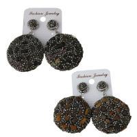 Ton Tropfen Ohrring, mit Gummi Earnut & Edelstein, für Frau, keine, frei von Nickel, Blei & Kadmium, 37x41mm,53.5mm, verkauft von Paar