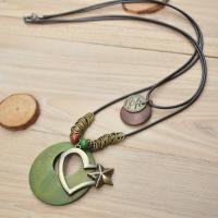 Zinklegierung Pullover Halskette, mit Gewachsten Baumwollkordel & Holz, plattiert, gefärbt & für Frau, keine, verkauft per ca. 35 ZollInch Strang