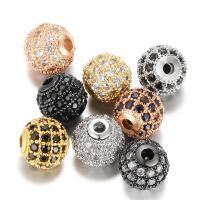 Befestigte Zirkonia Perlen, Messing, mit kubischer Zirkonia, rund, plattiert, DIY & verschiedene Größen vorhanden & Micro pave Zirkonia, keine, 7.80x8mm, 5PCs/Menge, verkauft von Menge