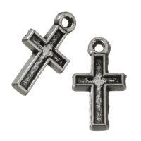 Zinklegierung Kreuz Anhänger, Emaille, Silberfarbe, frei von Nickel, Blei & Kadmium, 7x13x1mm,6x9mm, Bohrung:ca. 1mm, ca. 100PCs/Menge, verkauft von Menge