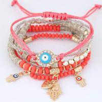 Zinklegierung Armband, mit Glasperlen & Baumwolle Schnur, böser Blick- Muster & für Frau, keine, frei von Nickel, Blei & Kadmium, 175mm, verkauft von Strang
