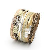 PU Schnur Armbänder, PU Leder, mit Kunststoff Perlen & Zinklegierung, für Frau, keine, frei von Nickel, Blei & Kadmium, 33x190mm, verkauft von Strang