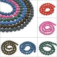 Polymer Ton Perlen , rund, verschiedene Größen vorhanden & verschiedene Muster für Wahl, Bohrung:ca. 1mm, verkauft von Tasche