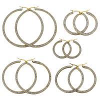 Edelstahl-Hebel zurück-Ohrring, Edelstahl, mit Ton, goldfarben plattiert, verschiedene Größen vorhanden & für Frau, 5PaarePärchen/Menge, verkauft von Menge