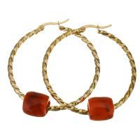 Edelstahl-Hebel zurück-Ohrring, Edelstahl, mit Acryl, goldfarben plattiert, für Frau, 45x47mm,11x11mm, verkauft von Paar