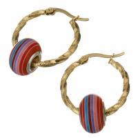 Edelstahl-Hebel zurück-Ohrring, Edelstahl, mit Acryl, goldfarben plattiert, für Frau, 25x27m,9x14mm, verkauft von Paar