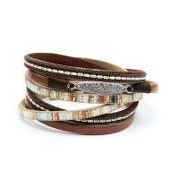 PU Schnur Armbänder, PU Leder, mit Zinklegierung, für Frau & mit Strass, keine, 20x380mm, verkauft von Strang