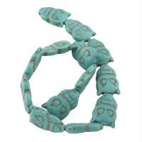 Synthetische Türkis Perle, Eule, blau, 28x20x8mm, Bohrung:ca. 1mm, ca. 13PCs/Strang, verkauft von Strang