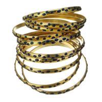 Edelstahl -Armband -Set, goldfarben plattiert, für Frau & Emaille, 5.5mm, Innendurchmesser:ca. 68mm, verkauft von Strang