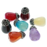 Natürliche Streifen Achat Perlen, plattiert, mit Strass, gemischte Farben, 15x23x15mm, Bohrung:ca. 1mm, 5/Tasche, verkauft von Tasche