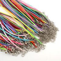Gewachste Nylonschnur Halskette Schnur, mit Edelstahl, gemischte Farben, 3x1mm, Länge:16.5 ZollInch, ca. 100StrangStrang/Tasche, verkauft von Tasche