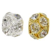 Messing Großes Loch Perlen, Trommel, plattiert, mit Strass, keine, frei von Nickel, Blei & Kadmium, 19x16mm, Bohrung:ca. 7mm, 50PCs/Tasche, verkauft von Tasche