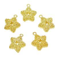 Zinklegierung Stern Anhänger, goldfarben plattiert, hohl, frei von Nickel, Blei & Kadmium, 15x18x7mm, Bohrung:ca. 2mm, 50PCs/Tasche, verkauft von Tasche