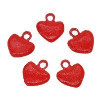 Zinklegierung Herz Anhänger, rot, frei von Nickel, Blei & Kadmium, 14x17x3mm, Bohrung:ca. 1mm, 50PCs/Tasche, verkauft von Tasche