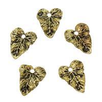 Zinklegierung Blatt Anhänger, antike Goldfarbe plattiert, frei von Nickel, Blei & Kadmium, 13x17x2mm, Bohrung:ca. 2mm, 50PCs/Tasche, verkauft von Tasche