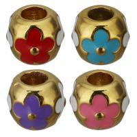 Edelstahl-Perlen mit großem Loch, Edelstahl, goldfarben plattiert, Emaille, keine, 11x9.50x11mm, Bohrung:ca. 4.5mm, 10PCs/Menge, verkauft von Menge