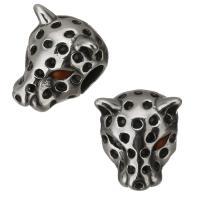 Edelstahl-Beads, Edelstahl, Leopard, originale Farbe, 11x14x10mm, Bohrung:ca. 4.5mm, 10PCs/Menge, verkauft von Menge