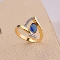 Messing Fingerring, mit Glas Edelstein, plattiert, verschiedene Größen vorhanden & für Frau & mit Strass, goldgelb, verkauft von PC