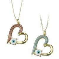 Messing Halskette, Herz, vergoldet, böser Blick- Muster & Oval-Kette & Micro pave Zirkonia & für Frau, keine, frei von Nickel, Blei & Kadmium, 24x28mm,1mm, Länge:ca. 17.5 ZollInch, 5SträngeStrang/Menge, verkauft von Menge