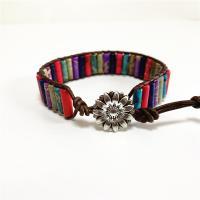 PU Leder Armband, mit Edelstein, unisex, farbenfroh, 17mm, verkauft per ca. 9.85 ZollInch Strang