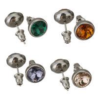 Edelstahl Ohrringe, mit Strass, keine, 10mm, 10PaarePärchen/Menge, verkauft von Menge