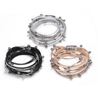 PU Schnur Armbänder, PU Leder, mit Zinklegierung, für Frau & mit Strass, keine, verkauft per ca. 15.3 ZollInch Strang