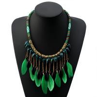 Zinklegierung Franse Halskette, mit Feder & Nylonschnur & Acryl, mit Verlängerungskettchen von 6cm, plattiert, mehrschichtig & für Frau, grün, frei von Nickel, Blei & Kadmium, verkauft per 19.4 ZollInch Strang