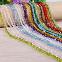 Kristall-Perlen, Kristall, facettierte, mehrere Farben vorhanden, 4mm, Bohrung:ca. 1mm, ca. 110PCs/Strang, 10SträngeStrang/Tasche, verkauft von Strang