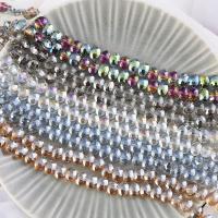 Mode Glasperlen, Glas, Zylinder, plattiert, keine, 9x12mm, Bohrung:ca. 1mm, 70PCs/Strang, verkauft von Strang