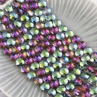 Mode Glasperlen, Glas, flache Runde, plattiert, facettierte, farbenfroh, 14mm, Bohrung:ca. 1mm, 50PCs/Strang, verkauft von Strang