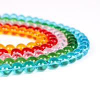 Mode Glasperlen, Glas, rund, poliert, verschiedene Größen vorhanden, keine, frei von Nickel, Blei & Kadmium, Bohrung:ca. 1mm, verkauft von Strang
