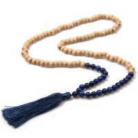 Holz Halskette, mit Baumwollfaden & Edelstein, QuasteTroddel, verschiedene Stile für Wahl & für Frau, 80mm, 8mm, Länge:ca. 17.7 ZollInch, 2SträngeStrang/Menge, verkauft von Menge