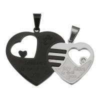 Edelstahl -Paar-Anhänger, Herz, mit Brief Muster & mit Strass, 21x28x4.5mm,28x35x4.5mm, Bohrung:ca. 3.5x6.5mm, verkauft von Paar