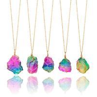 Zinklegierung Halskette, mit Edelstein, Zinklegierung Karabinerverschluss, goldfarben plattiert, für Frau, farbenfroh, 40mm, verkauft per ca. 17 ZollInch Strang