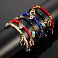 Zinklegierung Armband, mit Acryl, plattiert, böser Blick- Muster & für Frau & mit Strass, keine, frei von Nickel, Blei & Kadmium, verkauft per 7.5 ZollInch Strang