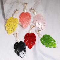 Acryl Tropfen Ohrring, Blatt, für Frau, keine, 85x35mm, verkauft von Paar