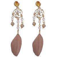 Zinklegierung Tropfen Ohrring, mit Glasperlen & Feder & Kunststoff Perlen, verschiedene Stile für Wahl & für Frau, frei von Nickel, Blei & Kadmium, 22x93mm, verkauft von setzen