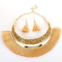 Zinklegierung Schmucksets, Ohrring & Halskette, mit Baumwollfaden, mit Verlängerungskettchen von 5cm, für Frau, keine, Länge:ca. 16.5 ZollInch, verkauft von setzen