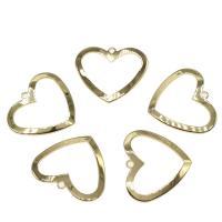 Messing Herz Anhänger, goldfarben plattiert, frei von Nickel, Blei & Kadmium, 24x28mm, Bohrung:ca. 2mm, ca. 50PCs/Tasche, verkauft von Tasche
