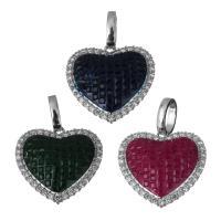 Messing Herz Anhänger, platiniert, Micro pave Zirkonia, keine, frei von Nickel, Blei & Kadmium, 24.50x24x7mm, Bohrung:ca. 5.5x8mm, verkauft von PC