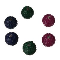 Kubischer Zirkonia Messing Perlen, mit kubischer Zirkonia, gemischte Farben, frei von Nickel, Blei & Kadmium, 9.50x9.50x9.50mm, Bohrung:ca. 2mm, verkauft von PC