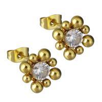 Edelstahl Ohrringe, mit Strass, goldfarben plattiert, für Frau, 12.5x12.5mm, verkauft von Paar
