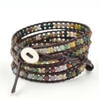 Indischer Achat Wrap Armband, mit PU Leder, rund, unisex & 5-litzig, 4mm, Länge:33 ZollInch, verkauft von PC